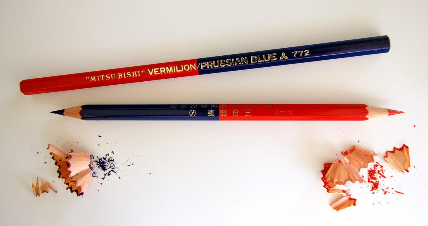Mitsubishi Red Blue Colored Pencils