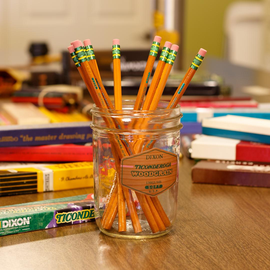 Dixon Ticonderoga Woodgrain pencils in cup