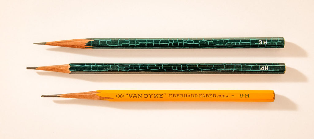 Three pencils of different hardness are shown, a 3H pencil, a 4H pencil, a 9H Van Dyke pencil