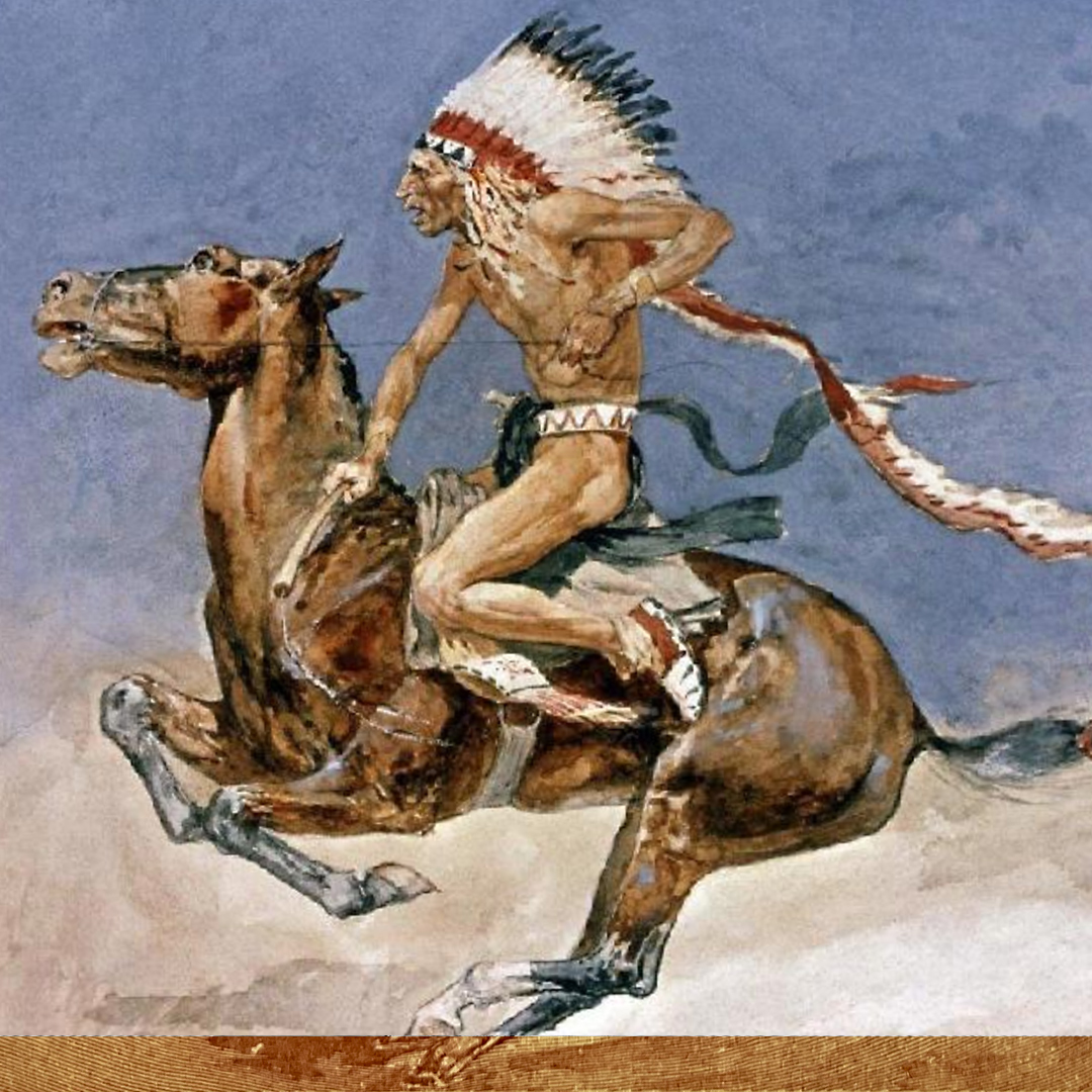 Detail of Frederic Remington painting of Blackfeet Indian on Horse